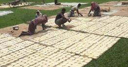 পাঁপড় শুকানোর কাজে ব্যস্ত গ্রামবাসী